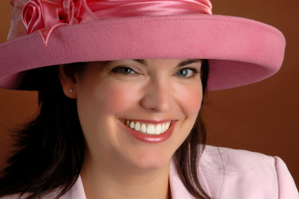 bright pink hat with ribbon
