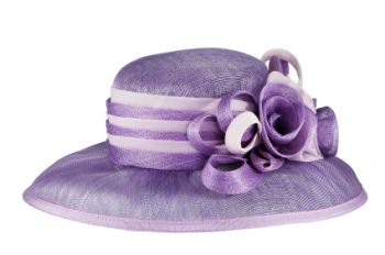 Lilac purple wedding hat with ribbon