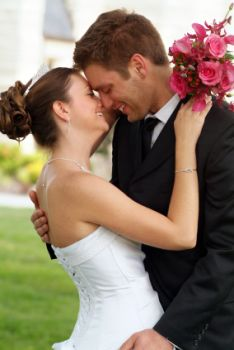 Couple kissing after they've just been married