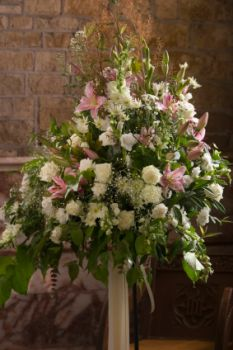 Floral arrangements in the church