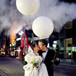 White balloon wedding parade