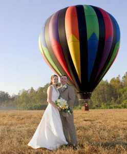 Hot air balloon wedding transportation